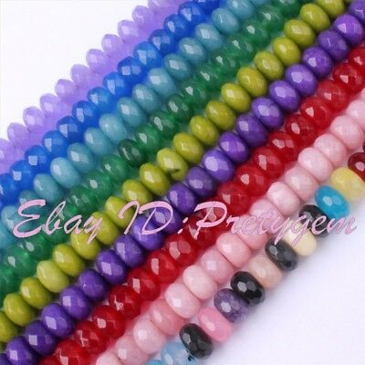 """5x8mm Faceted Rondelle Jade Gemstone Beads For DIY Jewelry Making Strand 15"""""""