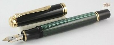 Pelikan Souveran M600 Green And Black With Gold Trim Fountain Pen Nice(New Logo)
