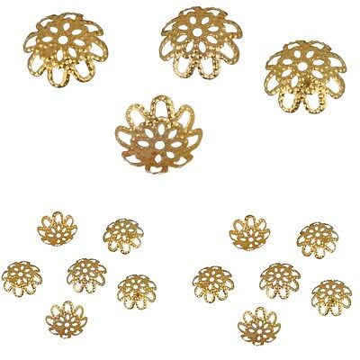 100pcs Wholsale Flower End Spacer Metal Beads Caps Jewelry Making DIY Findings