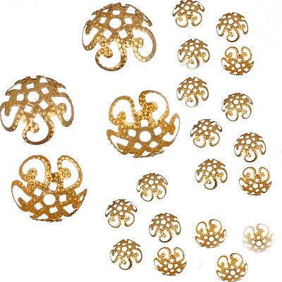 10mm 200 Pcs Wholsale Sivery Hollow Flower End Spacer Metal Bead Caps DIY Making