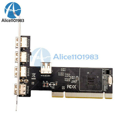 New High Speed 480Mbps 5 Port USB 2.0 PCI Hub Card Controller Adaptor Module