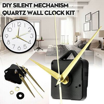 Silent Gold Hand Black Quartz Clock Movement Mechanism DIY Repair Parts Tool Kit