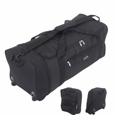 Large Folding 2 Wheeled Travel Sports Weekend Carry Holdall Luggage Bag