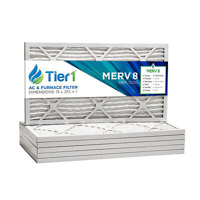 Tier1 13x21-1/2x1 Dust and Pollen Merv 8 Replacement Furnace Air Filter (6 Pack