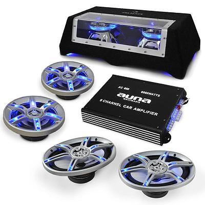 Complete Car Audio System Speakers Set Amplifier Subwoofer Sub Amp Cables 3 Way