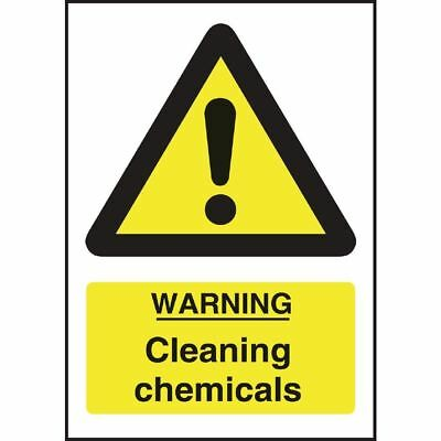 Vogue Warning Cleaning Chemicals Sign Self Adhesive & Easy to Clean - 200x150mm