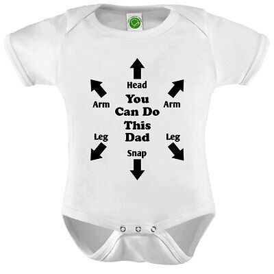 You Can Do This Dad Head Snap Onesie ORGANIC Cotton Romper Baby Shower Gift Funn
