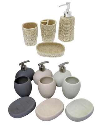 3 Pcs Bathroom Accessory Set Stone Effect Ceramic Soap Dish- Dispenser & Tumbler