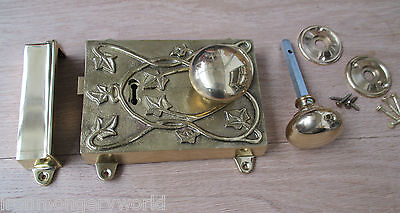 Fancy Ornate Decorative Vintage Victorian Solid Brass Door Rim Lock/ Knob