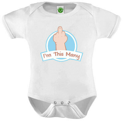 I'm This Many Middle Finger Onesie ORGANIC Cotton Romper Baby Shower Gift Funny