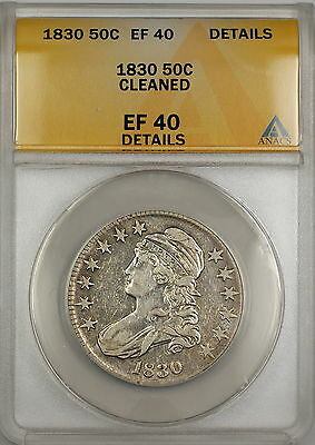 1830 Capped Bust Silver Half Dollar 50c Coin ANACS EF-40 Details Cleaned PRX