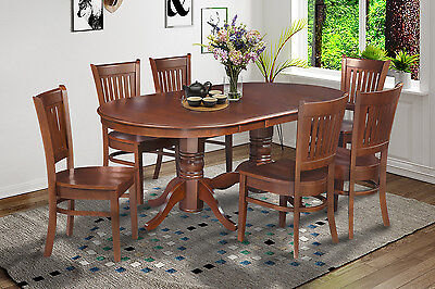 "7 Pc  Oval Dinette Kitchen Dining Room Set 42""x78"" Table & 6  Chairs in Espresso"
