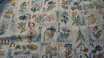 Vintage Soft Cotton Knit Fabric FLOWER BLOCKS ON CREAM Phlox,Dandelio 2 1/2 Yd