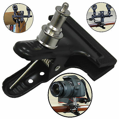 "Heavy Duty Metal Clamp Clip 1/4"" Screw For Photo Studio Camera Flash Light Stand"