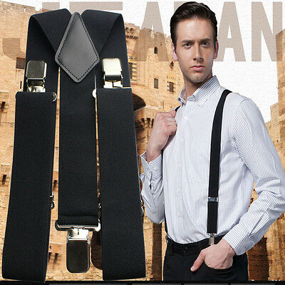 "50MM 2"" Plain Black Mens Braces Suspenders Heavy Duty Adjustable Unisex Elastic"