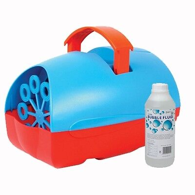 Mini Party DJ Disco Portable Bubble Machine Red & Blue with 1 Litre Bubble Fluid