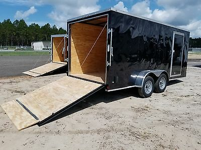 7x14 Enclosed Trailer Cargo V Nose 16 Motorcycle Box 8 Lawn Tandem 2017 New CALL