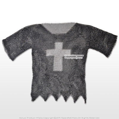 Medieval Chainmail Shirt Haubergeon Steel Butted Half Sleeve with Templar Cross