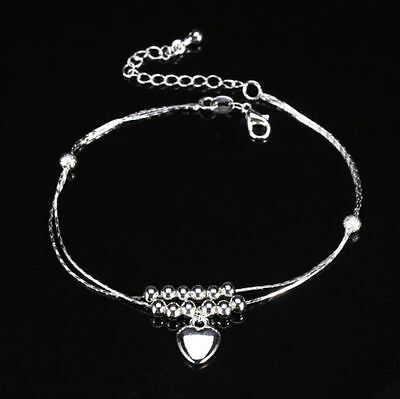 Love Heart 925 Sterling Silver Anklet Foot Double Chain Crystal Bracelet Jewelry