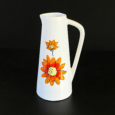 Vintage 1960s Hand-Painted Japanese Porcelain Jug with Sunflower Pattern