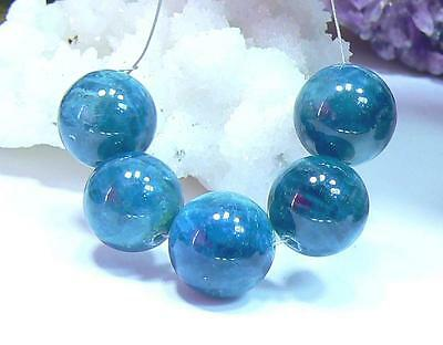 5 NATURAL BLUE APATITE SMOOTH ROUND BEADS BRAZIL 14mm 104.5ctw RARE BIG SIZE