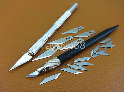 TWO Leather Craft Carving Cutting Knife Sharpener With 18pcs Blades Tool Set Kit