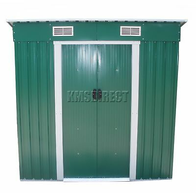 FoxHunter Garden Shed Pent Roof 4FT X 8FT Outdoor Storage Free Foundation Green
