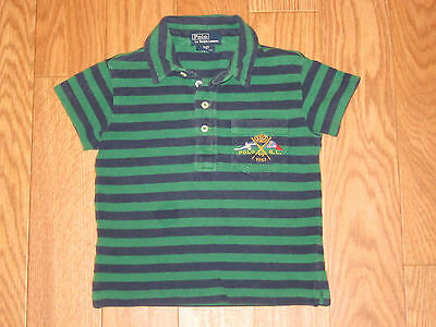 Toddler Boys Ralph Lauren Polo Shirt Green Nay Blue Striped Childs 2/2T
