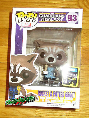 Sdcc 2015 Funko Pop Rocket Raccoon Potted Groot Figure Guardians Of The Galaxy