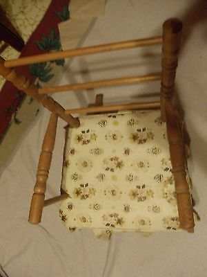 Vintage Childrens Wooden Brown Rocking Chair Antique With Fabric Padded Seat