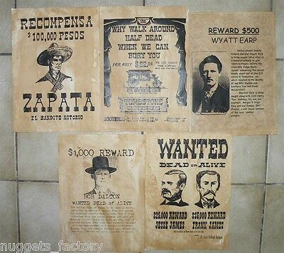 Lot 5 affiches USA Western , Cowboys ( 010 )