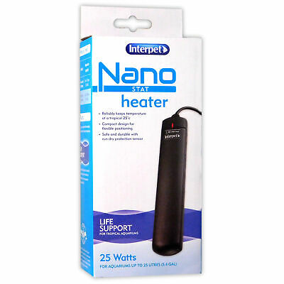 Interpet Nano Stat Heater 25C Red Led Tropical Fish Plants Aquarium Tank