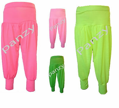 Girls Neon  Full Length Harem Ali Baba Trousers Pink Orange Green  Baggy Pants