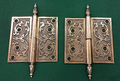 "PAIR MATCHING BRASS~BRONZE DOOR HINGES~VICTORIAN 100 % VINTAGE~ 5 by 5"" (#117)"