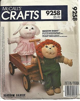 Vintage Mccall's 9258 Pattern Blossom Babies Soft Sculpture Animal Dolls - Uncut