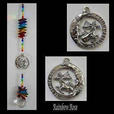 ZODIAC CHAKRA Crystal Suncatcher SAGITTARIUS Nov 23 - Dec 21 Pewter Star Sign