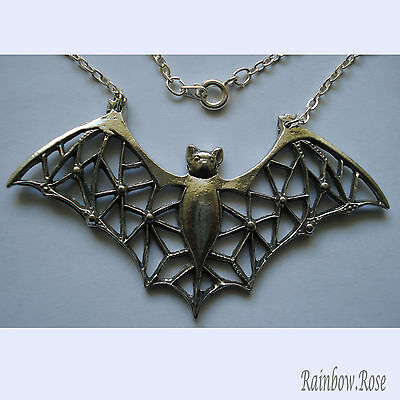 Chain Necklace #411 Pewter BAT with filigree wings (75mm x 40mm)