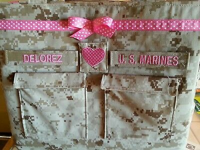 Handmade  Marines Diaper bag embroidery desert or woodland Marine choose colors