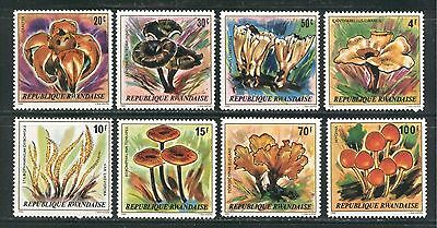 MUSHROOMS ON RWANDA 1980 Scott 975-982, MNH
