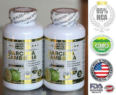 100% PURE 95% HCA Garcinia Cambogia Extract Diet Weight Loss Fat Burner USA X2