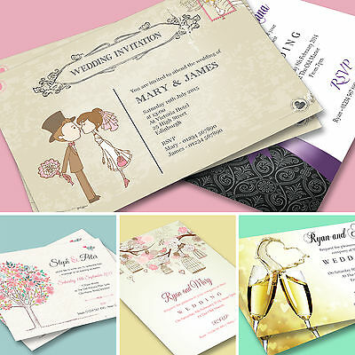100 Personalised Wedding Day and Evening Invitations with Envelopes