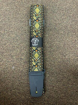 LM Jaquard yellow & orange RETRO pattern GUITAR strap NEW nylon - LEATHER ends
