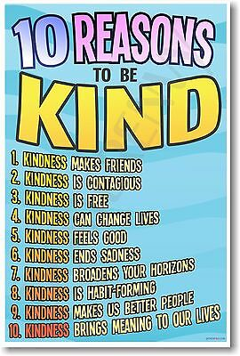 10 Reasons To Be Kind - NEW Classroom Motivational Inspirational Behavior POSTER