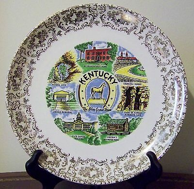Kentucky Souvenir Plate VTG Churchill Downs Natural Arch Mammoth Cave Lincoln
