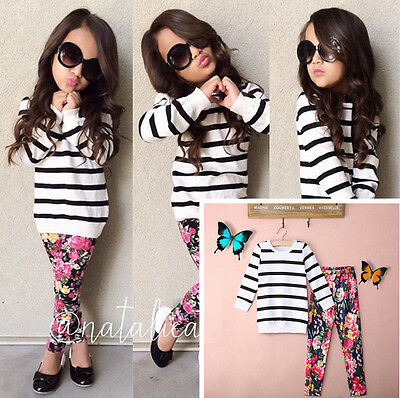 Baby Kids Girls Clothes Stripe T-shirt Tops + Floral Leggings 2pcs Outfit Sets