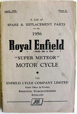 ROYAL ENFIELD Super Meteor - Motorcycle Parts List - 1956 - #522/2½M.456