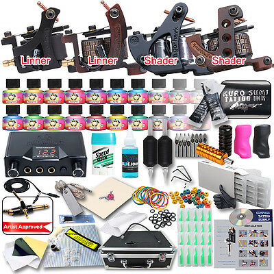 Professional Complete Tattoo Kit 4 Top Machine Gun 20 Ink 50 Needle Power Supply