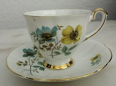 Royal Westminster Cup Saucer White  Blue and Gold Flowers Trimed in Gold