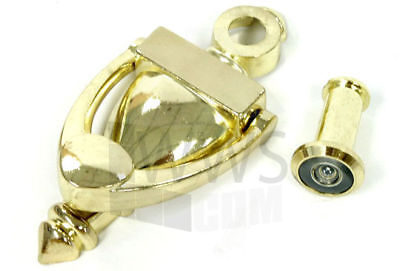 New Door Knocker with Large Viewer (polished brass)
