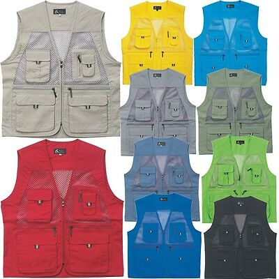 Mens Multi use Pockets Fly Fishing Hunting Mesh Vest Travel Outdoor Jacket Top F